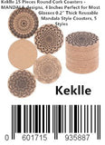 "Keklle 15 Pieces Round Cork Coasters - MANDALA designs, 4 Inches Perfect for Most Glasses 0.2"" Thick Reusable Mandala Style Coasters, 5 Styles"