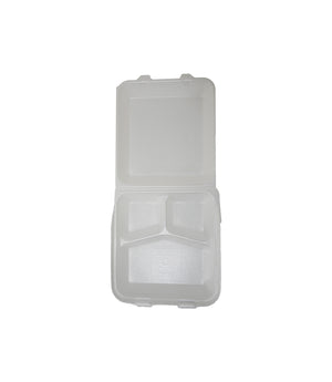 FOAM TRAY, THREE COMPARTMENT, HINGED LID