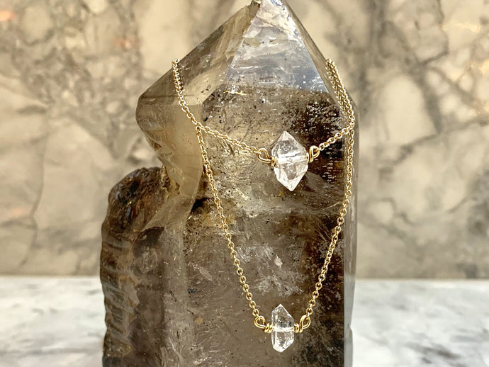 HERKIMER DIAMOND COLLAR DOUBLE LAYER NECKLACE