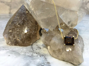 SMOKEY QUARTZ ENERGY STONE COLLARBONE NECKLACE