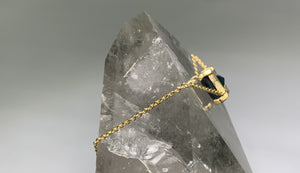 DARK BLUE TOPAZ ENERGY STONE COLLARBONE NECKLACE