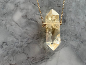CITRINE DOUBLE TERMINATED PENDANT - LARGE GOLD
