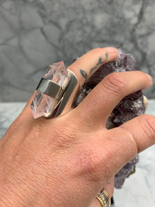 HANDMADE DOUBLE TERMINATED ROSE QUARTZ RING