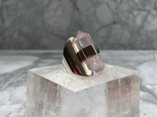 Load image into Gallery viewer, HANDMADE DOUBLE TERMINATED ROSE QUARTZ RING