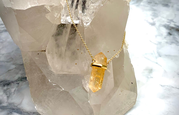 CITRINE DOUBLE TERMINATED PENDANT - GOLD