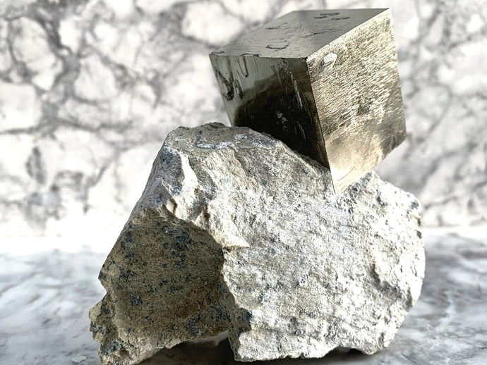 RARE ONE OFF EXTRA LARGE PYRITE CUBE - IN MATRIX