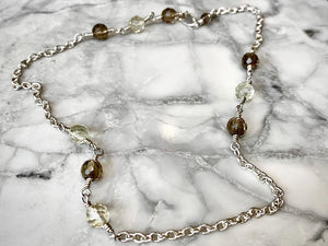 SMOKEY & CITRINE FACETED CHOKER CHAIN