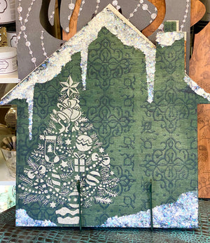 Hand Painted Green Winter House Wooden Cutout