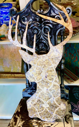 Hand Painted Glamorous Deer Wooden Cutout