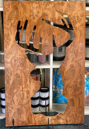 Hand Painted Rustic Deer Silhouette Wooden Cutout