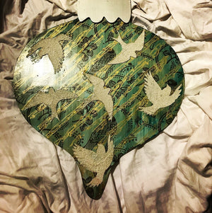 Hand Painted Dove Wooden Ornament