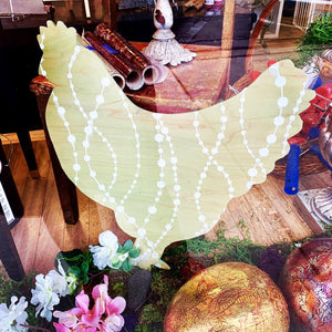 Hand Painted Country Chicken Cutout