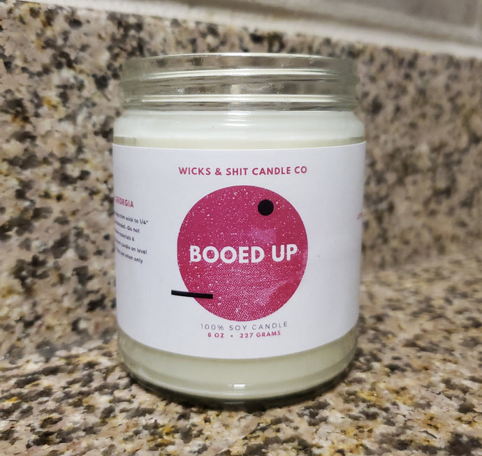 Booed Up Candle-Grin away while indulging in seductive scent of dark chocolate, cedar, & suede.