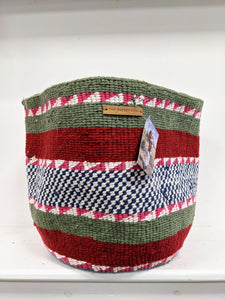 XL Knifty Knit basket red/green stripe REDUCED WAS £46