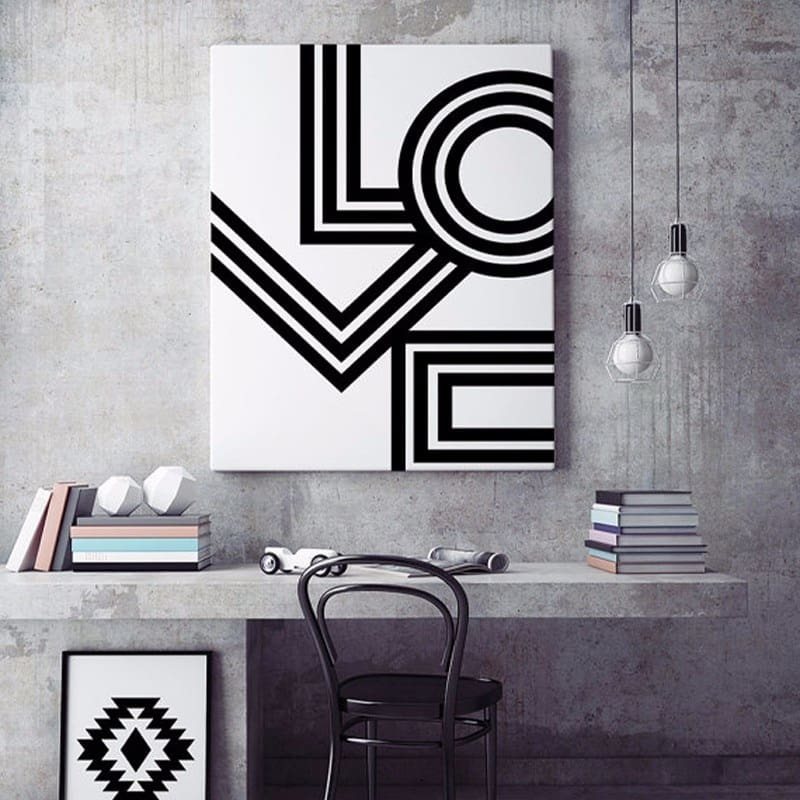 Soh Boho LOVE Wall Art Minimalist Print Geometric Love Poster Modern Canvas Art Painting Wall Pictures For Bedroom Decor No Frame