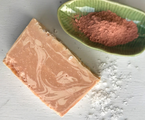 Pink clay sea salt bar