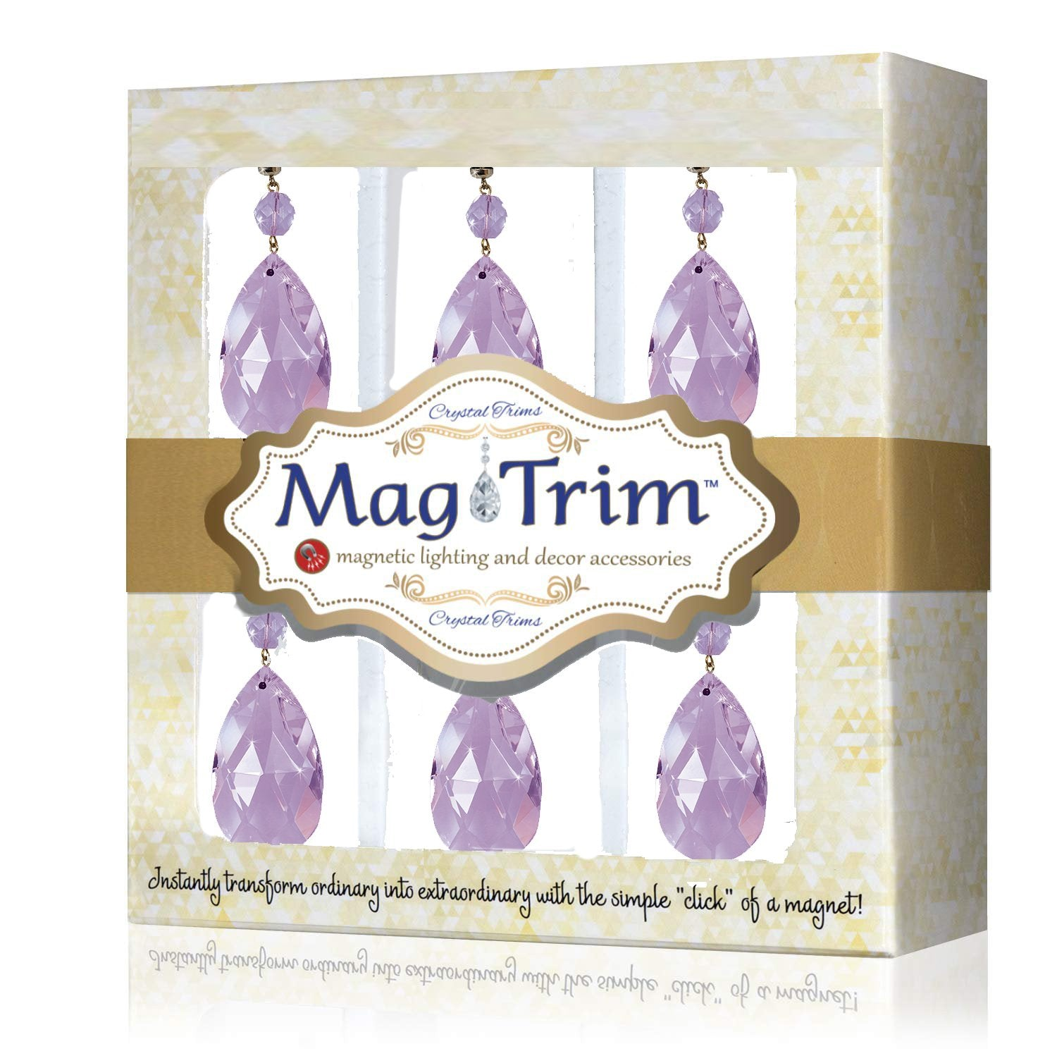 "2"" LAVENDER ""MINI"" CENTER CUT CRYSTAL ALMOND Magnetic Chandelier Crystal TrimKit® (Box of 6) Chandelier Crystals 