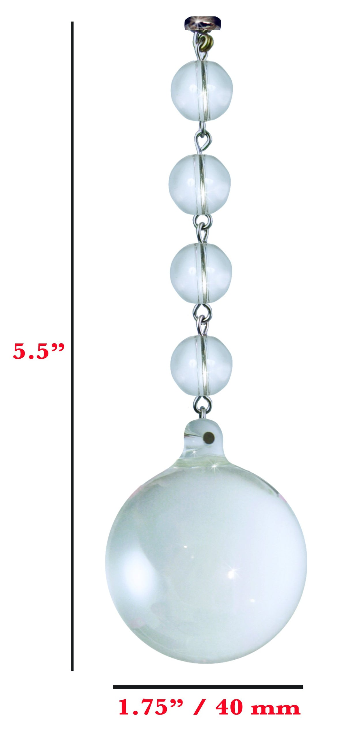 40mm CLEAR SOLID GLASS BALL (Box of 3) Magnetic Chandelier Crystal TrimKit® Light Charm MagTrim