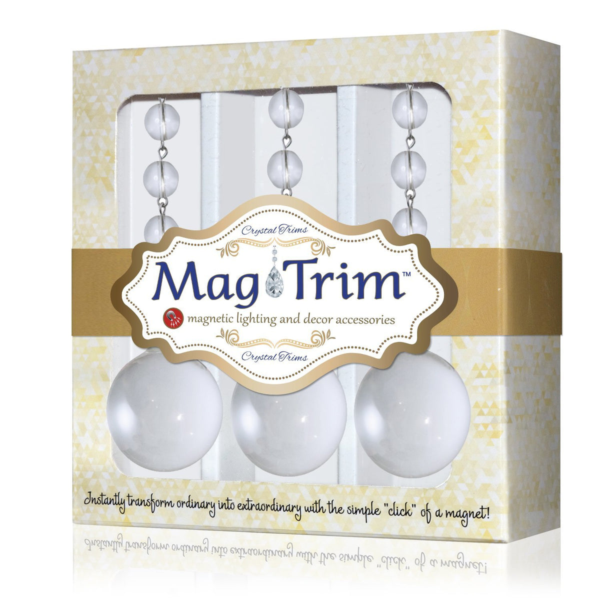40mm CLEAR SOLID GLASS BALL (Box of 3) Magnetic Chandelier Crystal TrimKit® Light Charm MagTrim Set/3