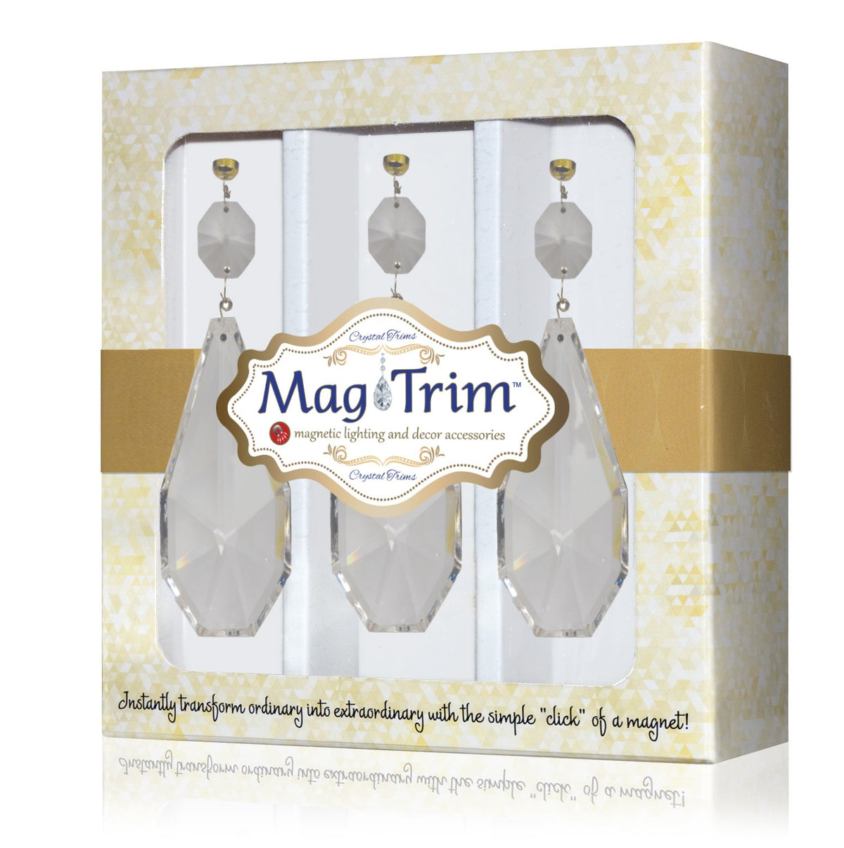 "5.5"" CLEAR CRYSTAL ESTATE PENDANT (Box of 3) Magnetic Chandelier Crystal TrimKit® Glass Crystals 