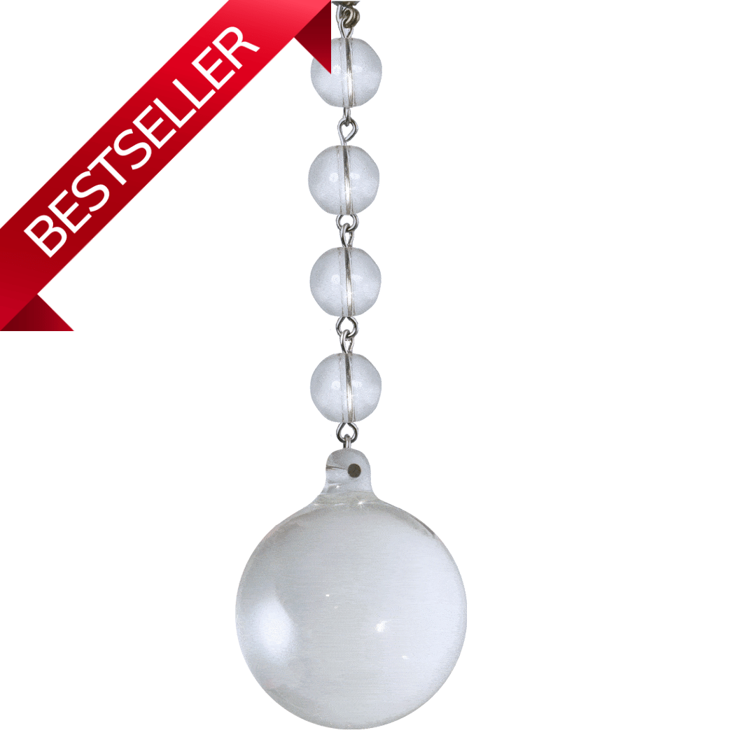"5.5"" x 40mm CLEAR SOLID GLASS BALL (Box of 3) Magnetic Chandelier Crystal TrimKit® Light Charm MagTrim"