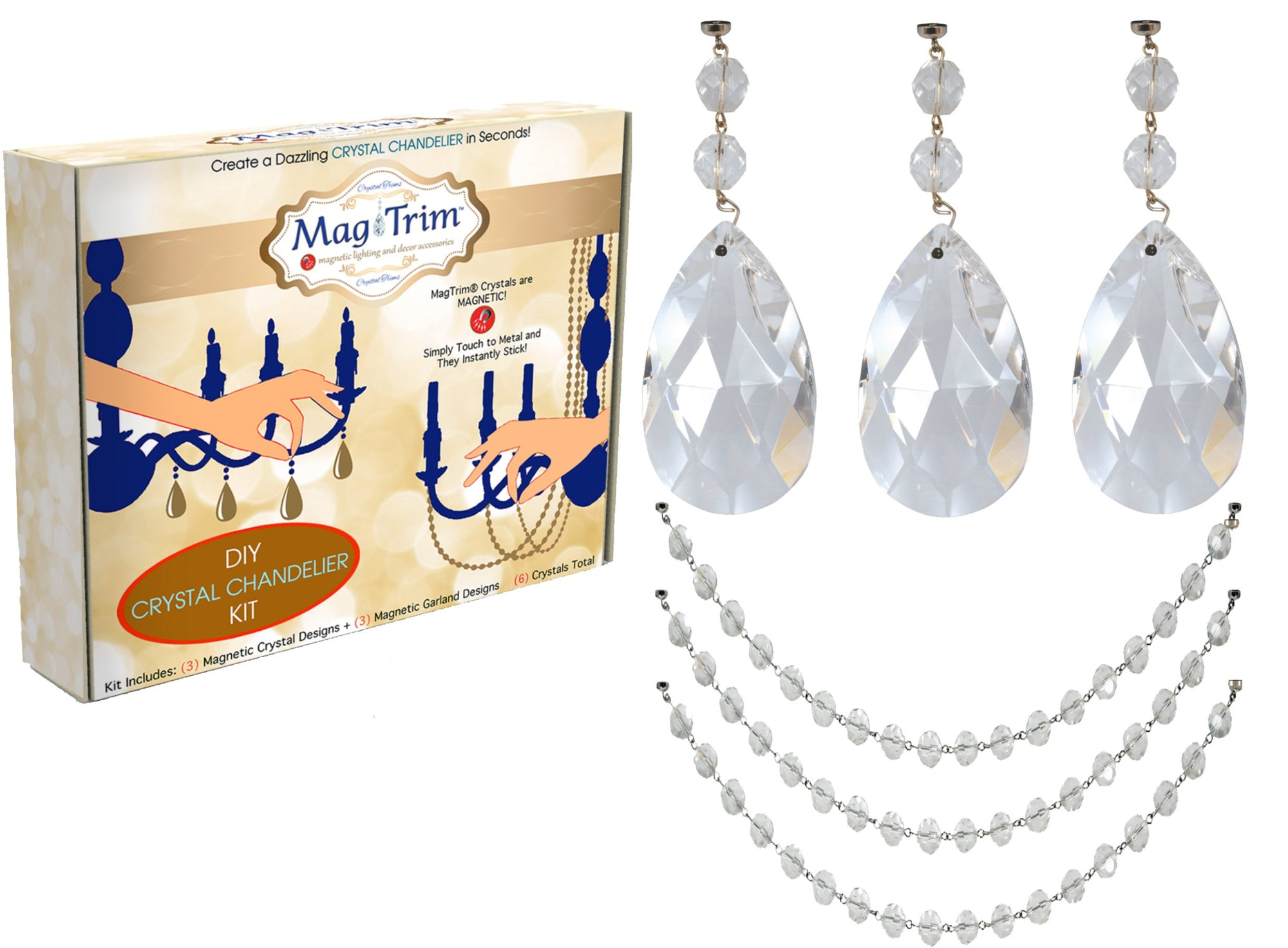 "COMPLETE CHANDELIER MAKEOVER KIT - 4"" Clear Center Cut Almond + 12"" Clear Crystal Bead Garland ( Set/6) Chandelier Crystals 