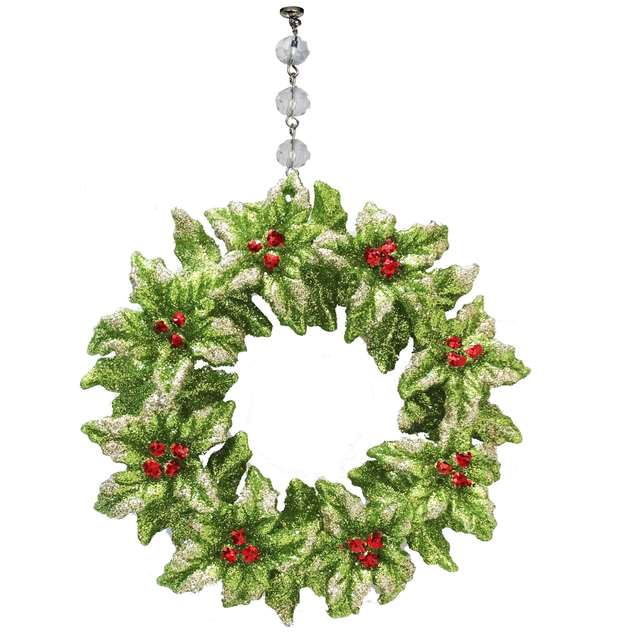 GLITTER RED/GREEN MISTLETOE WREATH ORNAMENT (Set/3)  MAGNETIC ORNAMENT - Magnetic Chandelier Accessory TrimKit®