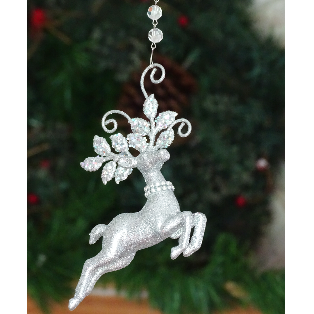 GLITTER SILVER REINDEER ORNAMENT (Set/3) MAGNETIC ORNAMENT - Magnetic Chandelier Accessory TrimKit® Chandelier Crystals | Magnetic Crystals | Lamp Crystals MagTrim