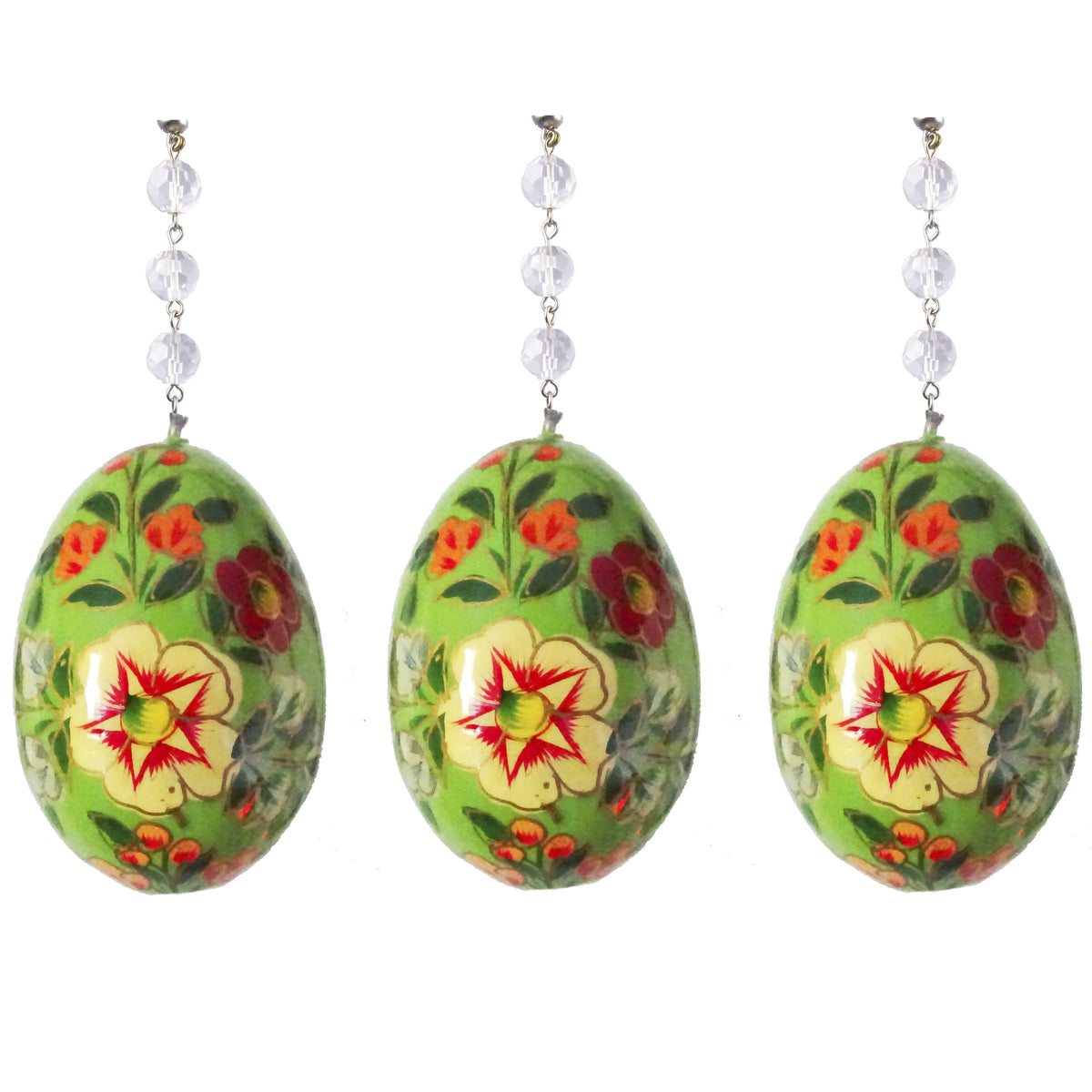 Green Floral Egg - Yellow Flower - MAGNETIC SPRING ORNAMENT - Magnetic Chandelier Accessory TrimKit® ( Set/3) Chandelier Crystals | Magnetic Crystals | Lamp Crystals MagTrim Set/3