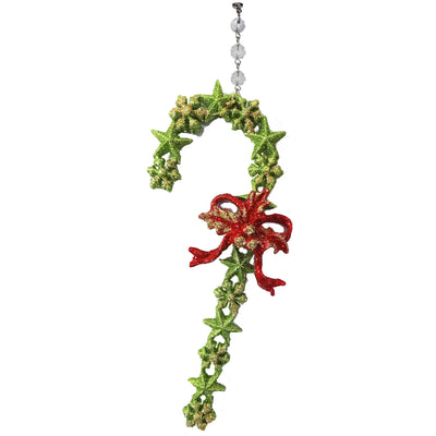 GREEN GLITTER CANDY CANE (Set/3) MAGNETIC CHRISTMAS ORNAMENT - Magnetic Chandelier Accessory TrimKit® Chandelier Crystals | Magnetic Crystals | Lamp Crystals MagTrim