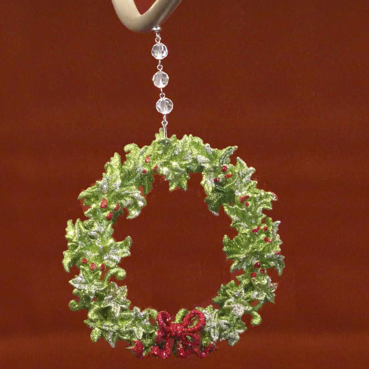 "HOLIDAY CHANDELIER MAKEOVER KIT - (3) Bow Wreath + (3) 12"" Red/Green Bead Crystal Garland Chandelier Crystals 