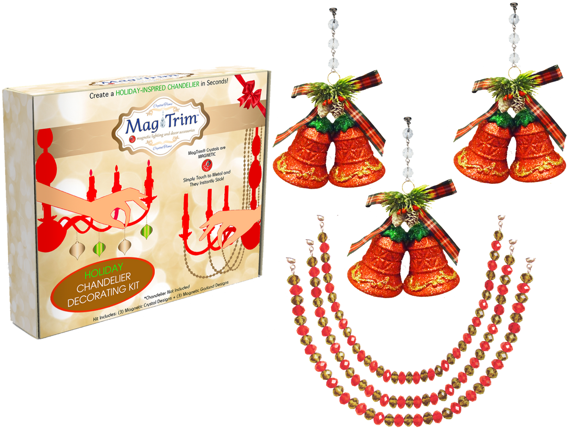 "HOLIDAY CHANDELIER MAKEOVER KIT - (3) Red Bells + (3) 12"" Red/Gold Garland Chandelier Crystals 