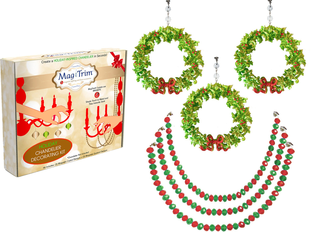 "HOLIDAY CHANDELIER MAKEOVER KIT - Bow Wreath + 12"" Red/Green Bead Crystal Garland (Set/6) Chandelier Crystals 