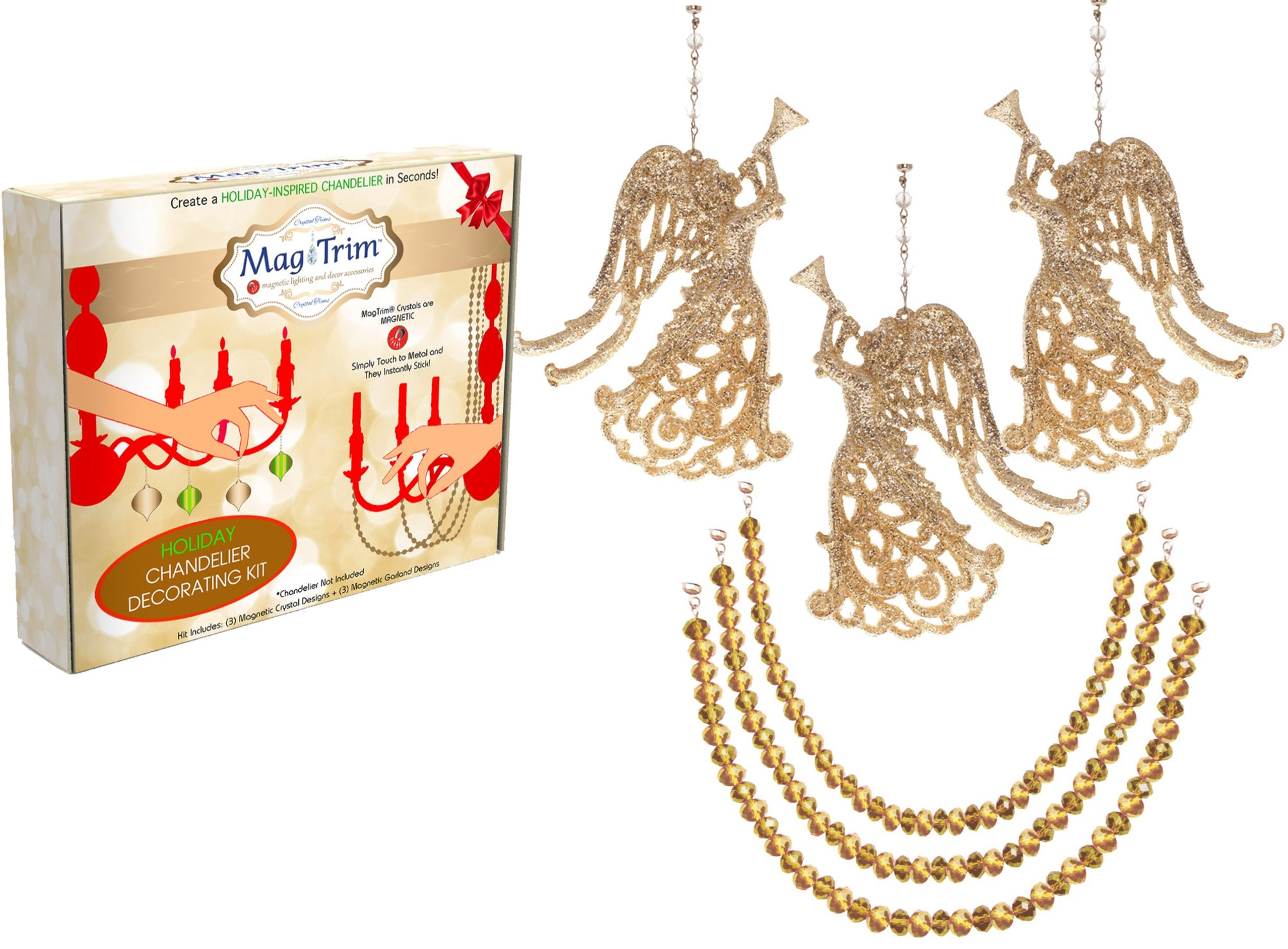 "HOLIDAY CHANDELIER MAKEOVER KIT - Gold Angel + 12"" Gold Garland (Set/6) Chandelier Crystals 
