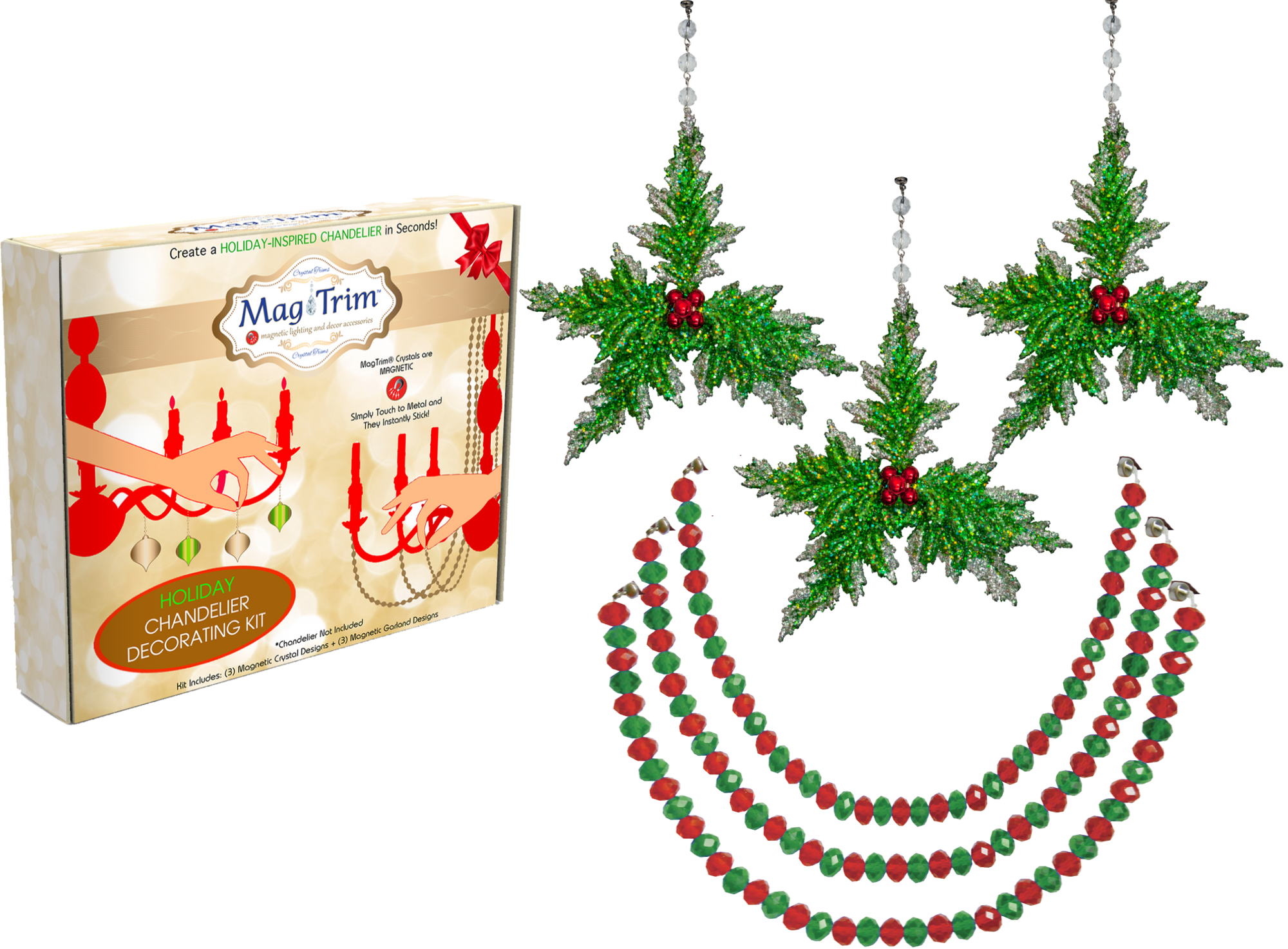 "HOLIDAY CHANDELIER MAKEOVER KIT - Green Holly + 12"" Red/Green Garland (Set/6) Chandelier Crystals 