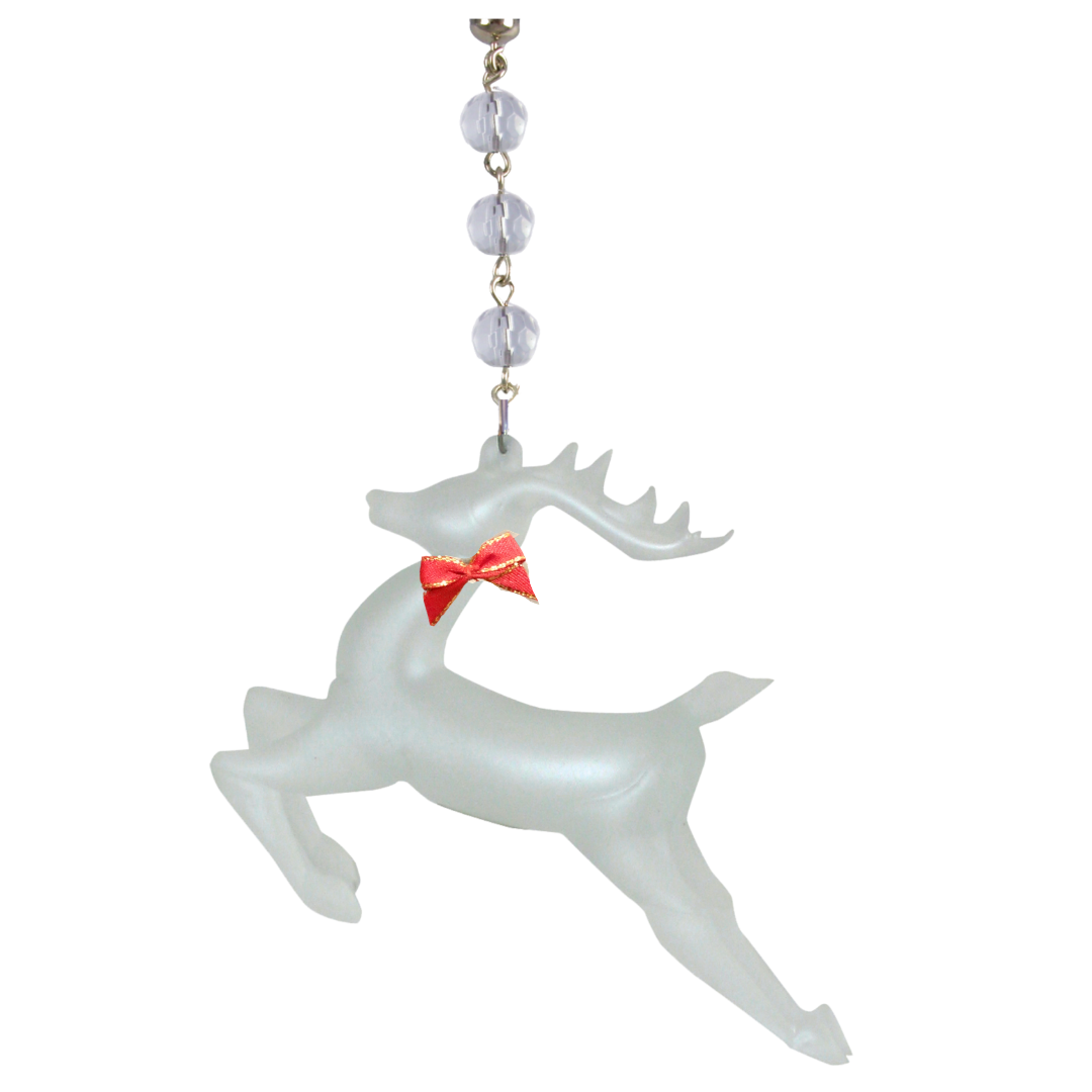 RED BOW FROSTED GLASS REINDEER (Set/1) MAGNETIC CHRISTMAS ORNAMENT- Magnetic Chandelier Accessory TrimKit® Light Charm MagTrim