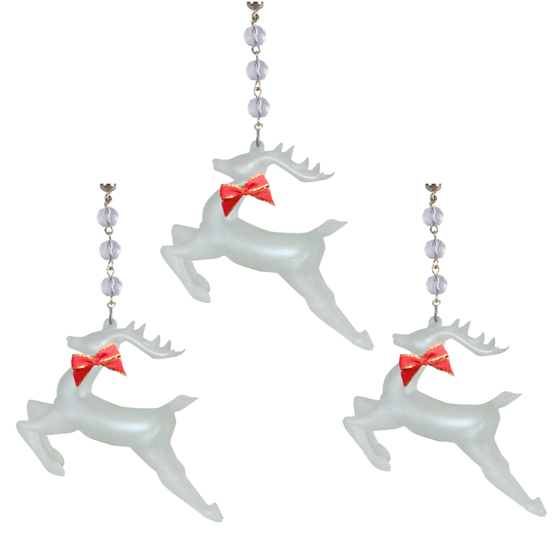 RED BOW FROSTED GLASS REINDEER (Set/3) MAGNETIC CHRISTMAS ORNAMENT- Magnetic Chandelier Accessory TrimKit® Light Charm MagTrim