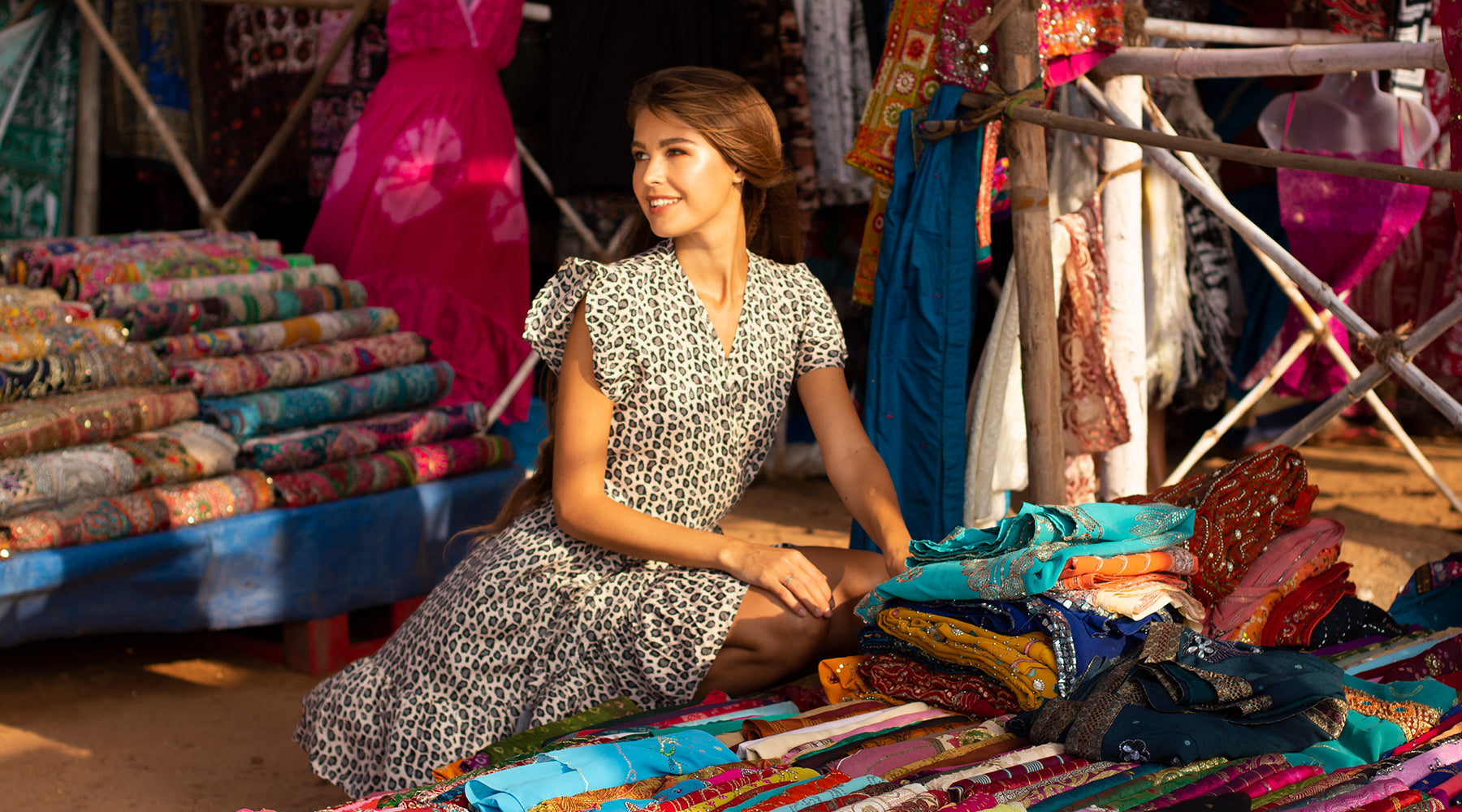 Shopping in an India Market wearing the Kelly Dress from JeS Lifestyle.