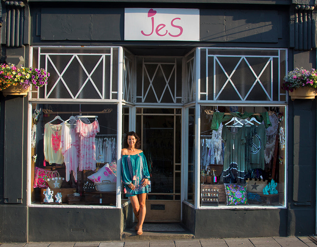 The JeS Lifestyle shop Colchester. Jessica Schomberg, creator and owner is standing outside.
