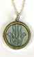 Hand Painted Pendant - Hamsa on Grey