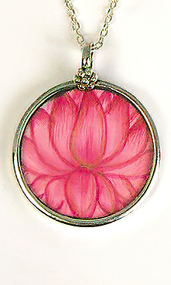 Hand Painted Pendant - Pink Lotus