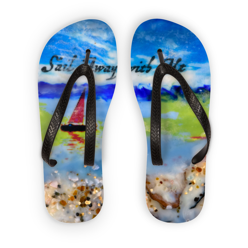 Sea Echoes Series V4  Sail Away With Me Encaustic Mixed Media Adult Flip Flops