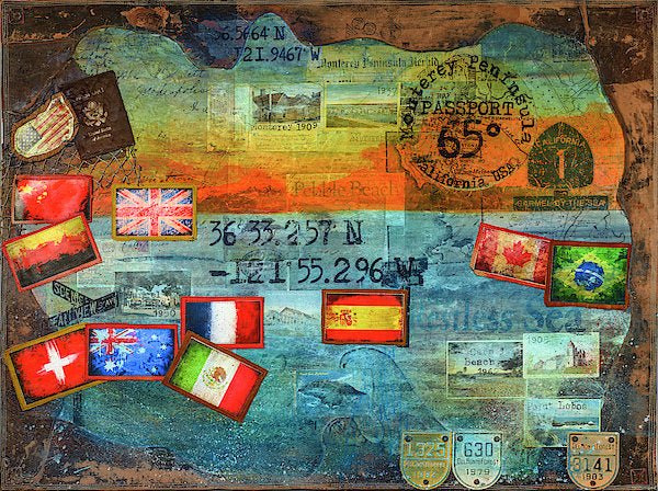 "Passport Collector Series: ""65 Degrees Monterey Peninsula California Travel"" - Art Print"