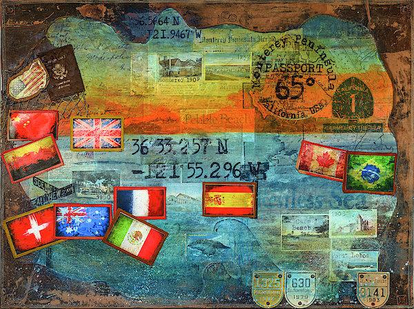 "Passport Series: ""65 Degrees Monterey..."" - Original Acrylic Mixed Media"