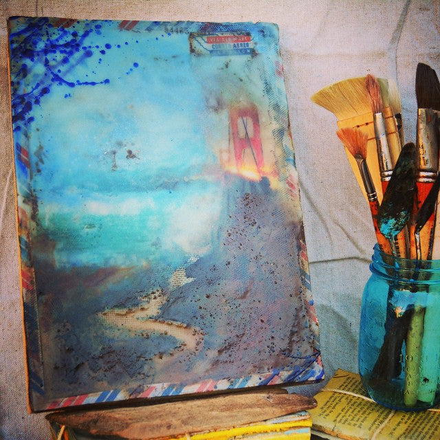 "Hidden Depths Collector Series: ""San Francisco Golden Gate"" - 12""x9"" Original Encaustic Mixed Media"