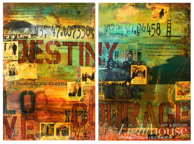 "50% Deposit for Diptych, 2  (Two) Custom 24"" X 36"" - Original Acrylic Mixed Media on Canvas"