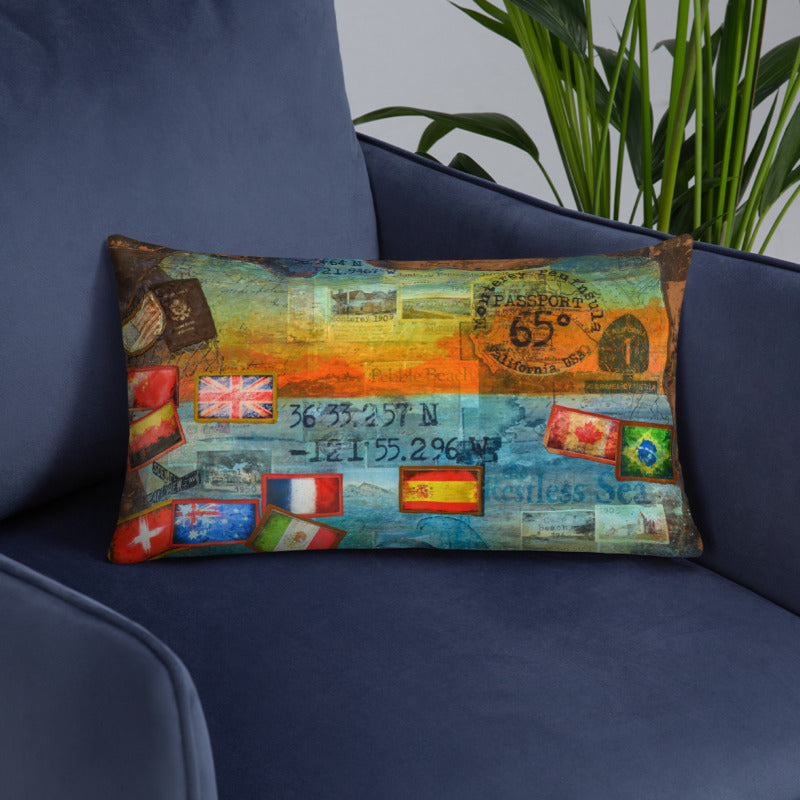65 Degrees Monterey Peninsula California Passport - Throw Pillow