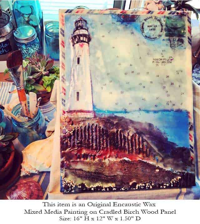 "Journey To The Lighthouse Collector Series ""Pigeon Point Light"" - Original Encaustic Mixed Media"