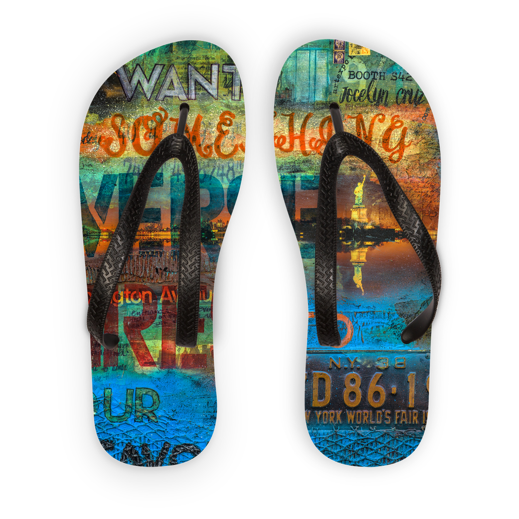 Empire State Of Mind New York Passport - Adult Flip Flops