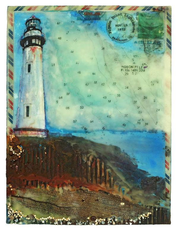 "Journey To The Lighthouse Collector Series ""Pigeon Point Light"" - 16""x12"" Original Encaustic Mixed Media"